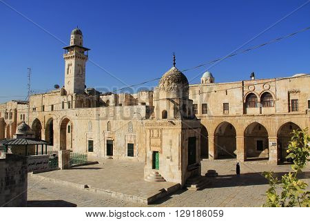 View of a nearby street and minaret as seen from the Temple Mount in Jerusalem, Israel.