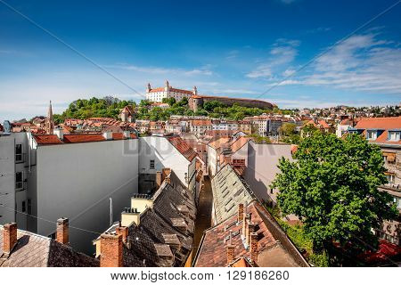 View on Bratislava castle and Bastova street with old houses from Michal's watch tower in Bratislava, Slovakia