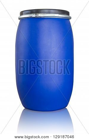 Blue drum being use in chemical and oil industrial Isolate on white with clipping path.