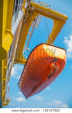 Life boat, survival craft or rescue boar at oil and gas platform while yearly sea trial test and maintenance