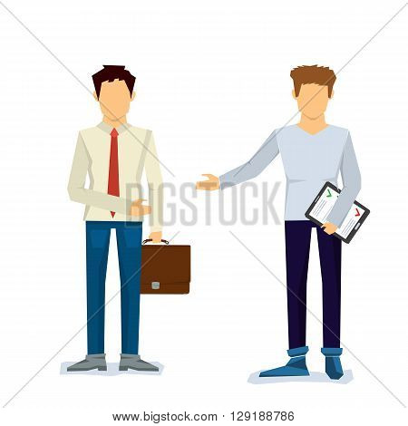 Vector concept two businessmen. One with case, another with contract sheet and outstretched hand. Isolated on white in flat style