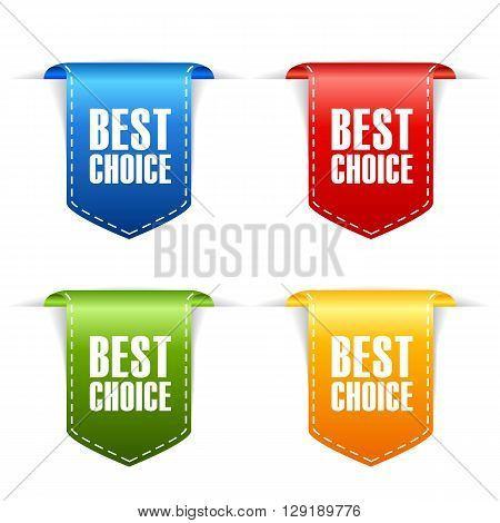 Best choice ribbons set isolated on white background