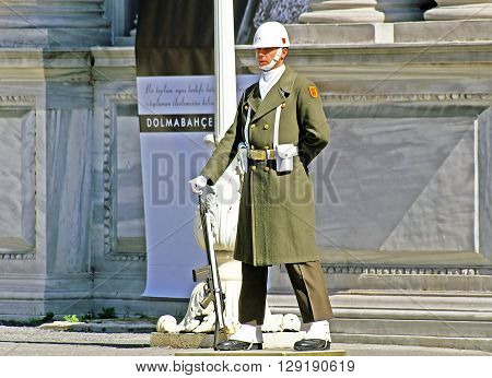ISTANBUL, TURKEY - MARCH 09, 2008: Turkish guardman near Dolmabahce palace, Istanbul, Turkey