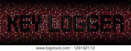 Key logger text on hex code illustration