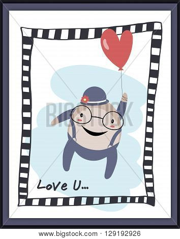 Humpty Dumpty lover with heart envelope card