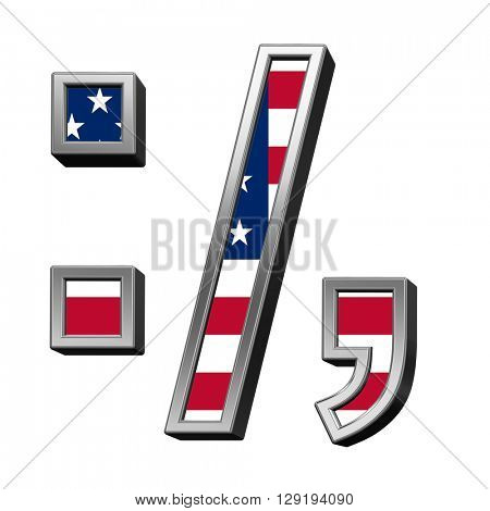 Colon, semicolon, period, comma from american flag alphabet set isolated over white. 3D illustration.