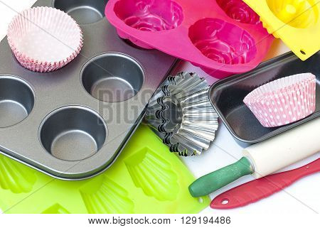 Appliances For Baking Closeup On White Background
