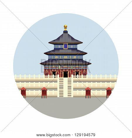 Temple of Heaven icon isolated on white background. Vector illustration for famous building design. Travel tour postcard. With blue sky. China landmark symbol Touristic asian temple