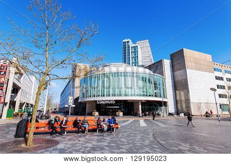 Almere Netherlands - April 19 2016: city center of Almere with unidentified people. Almere is a fast growing planned city. With a population of about 200000 it is the 7th largest Dutch city