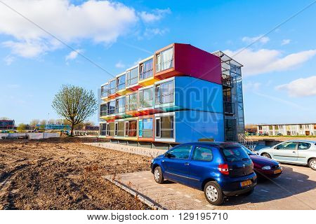 Almere Netherlands - April 19 2016: modern stackable student apartments called spaceboxes in Almere. Almere is famous for its extraordinary and experimental architecture