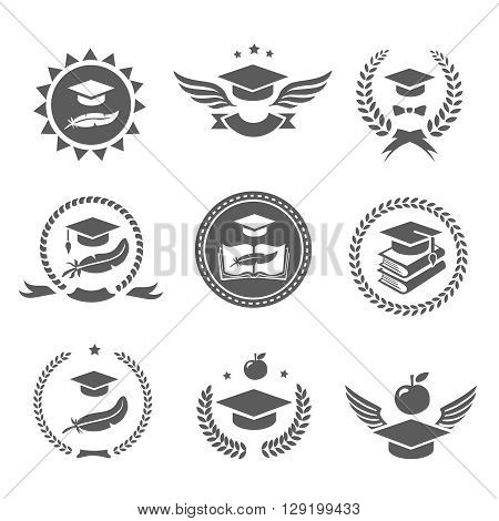 Graduation cap labels set. College study, diploma and hat design High School and congratulations graduate logo