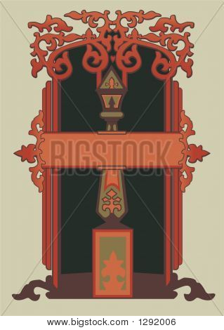 vector image abstract decorative frame (russian style) poster