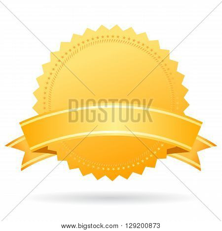 Blank gold medal with ribbon isolated on white background