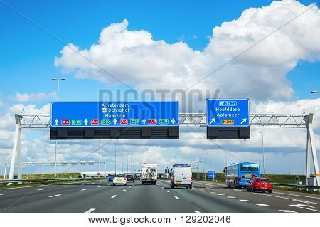 Province South Holland Netherlands - April 23 2016: A4 motorway. The A4 is 114 km long and was planned to connect Amsterdam with Brussels. Today there is still a gap of 11 km near Rotterdam