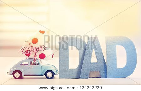 Dad Letter With Car Carrying Heart Cushion