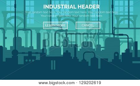Abstract industrial manufacturing plant scene with ambient light, pipes and machinery. Web template for website header or decoration. poster