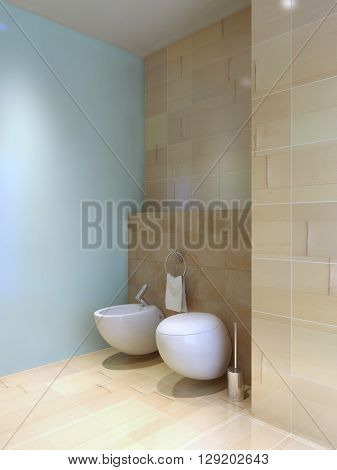 Toilet and bidet near tiled wall. Fusion styled interior of wc. Contrast of light blue and lemon cream tiled walls. 3D render