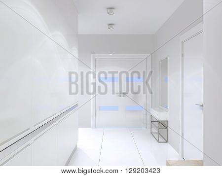 Idea of high-tech entrance with white walls and decor. White tile flooring wide doors. 3D render