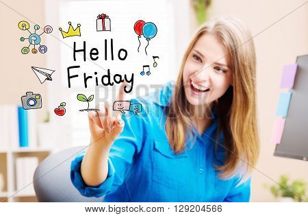 Hello Friday Concept With Young Woman