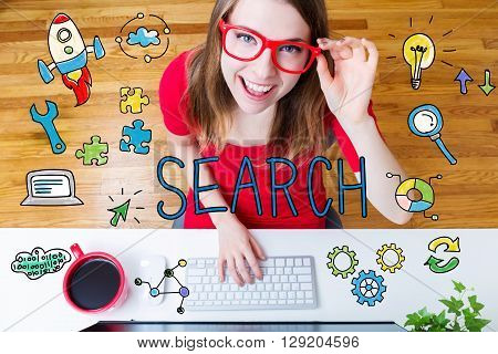 Search Concept With Young Woman