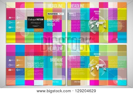 Vector set of tri-fold brochure design template on both sides with world globe element. Abstract colorful business background, modern stylish vector texture.