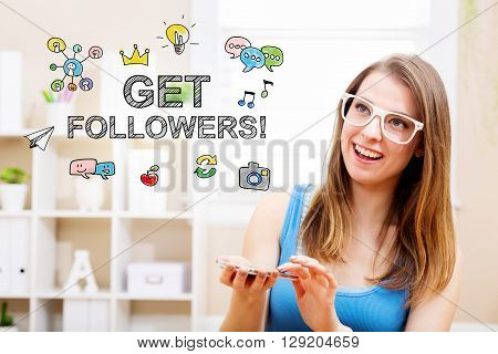 Get Followers Concept With Young Woman