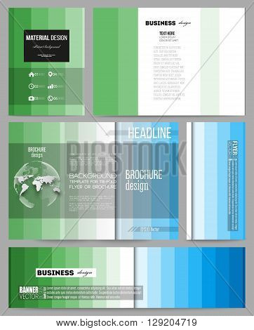 Set of business templates for presentation, brochure, flyer or booklet. Abstract colorful business background, blue and green colors, modern stylish striped vector texture for your cover design.