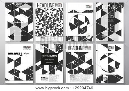 Set of business templates for brochure, flyer or booklet. Triangular vector pattern. Abstract black triangles on white background.