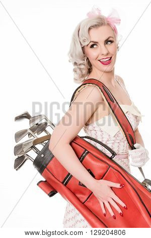 Cute Retro Girl Carrying Red Golf Bag Over Her Shoulder, Isolated On White
