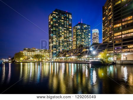 Modern Buildings Along Lake Ontario At Night, At The Harbourfront In Toronto, Ontario.