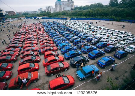 Omsk, Russia - August 22, 2014:  Car flashmob -Russian Flag landscape