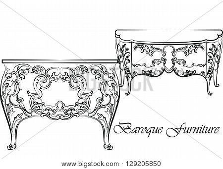 Baroque Vector Classic commode table furniture set with Royal Luxury ornaments. Vector