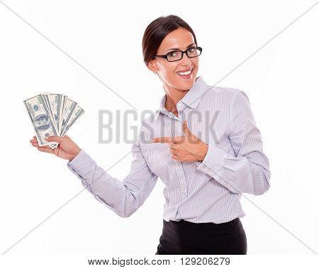 Impressed Brunette Woman Holding Dollar Bills