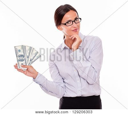 Thinking Smiling Brunette Businesswoman With Money