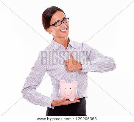 Businesswoman Holding Pink Porcelain Piggy Bank