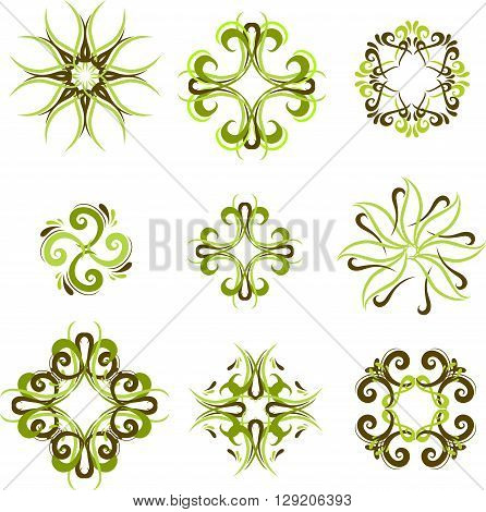 Green set of graphic ornamental frames in vector