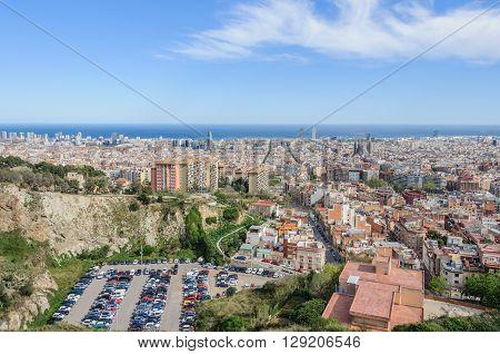 Panorama From Turo Del Rovira In Barcelona, Spain