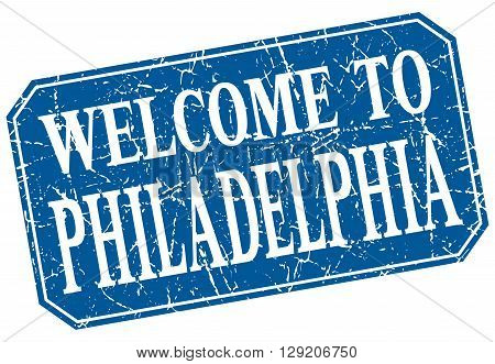 welcome to Philadelphia blue square grunge stamp