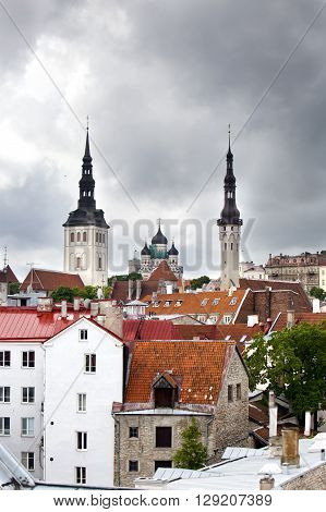 View of the city and spikes Catholic and orthodox cathedrals. Tallinn Estonia