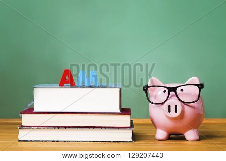 Master Of Arts Degree Theme With Pink Piggy Bank
