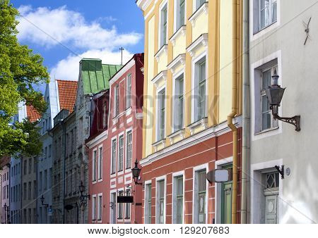 Old houses on the Old city streets. Tallinn. Estonia.