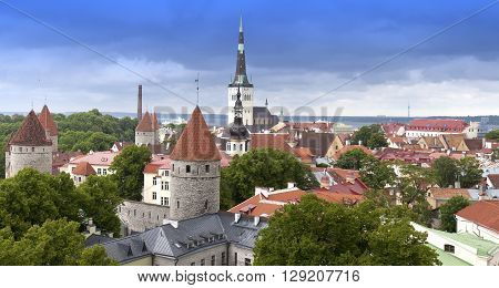 City panorama from an observation deck of Old city's roofs. Tallinn. Estonia.