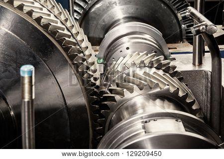 Metal gears. Gear wheels of the engine.