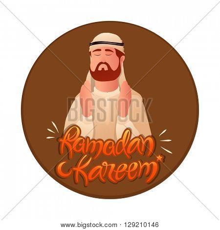 Religious Arabian Man reading Namaz (Islamic Prayer) for Holy Month of Prayers, Ramadan Kareem celebration.