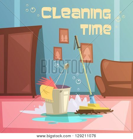 Cleaning service cartoon background with equipment water and supplies vector illustration
