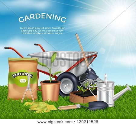 Gardening tools on green grass design concept set in sunlight at blue sky background vector illustration