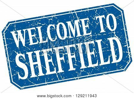 welcome to Sheffield blue square grunge stamp