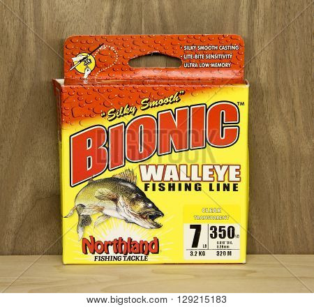 Spencer Wisconsin May 10 2016 Box of Bionic Walleye Fishing Line Bionic is a product of Northland Fishing Tackle an American based company