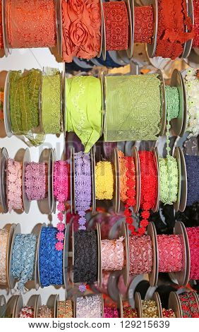 Colored Ribbons And Decorative Rolls For Sale Per Meter In The Wholesaler's Shop