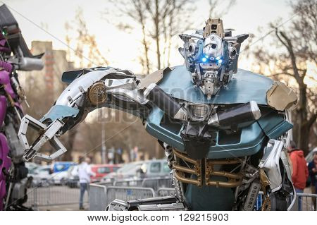 ZAGREB CROATIA - MARCH 26 2016 : Exhibition by Danilo Baletic named Transformers protecting Zagreb on square Franje Tudjmana in ZagrebCroatia. Exhibition is made of automobile parts and waste.